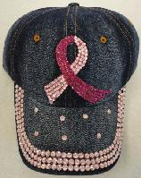 Denim Hat with Bling *[Pink Ribbon]